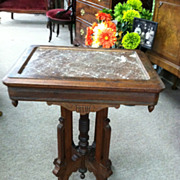 SALE Gorgeous Antique Walnut Victorian Brown Marble Top Table circa 1870