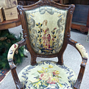 SALE Gorgeous Antique French Fauteuil Armchair with Needlepoint circa 19th Century