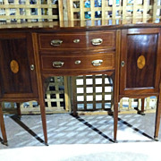 SALE Gorgeous Antique Mahogany English Edwardian Inlaid Bow Front Sideboard circa 1890