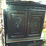SALE Incredible Antique Heavily Carved Oak Jacobean Cupboard circa Early 19th Century