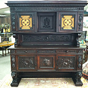 SALE Gorgeous Highly Carved Antique Italian Renaissance Walnut Buffet with Lion Legs Circa 189