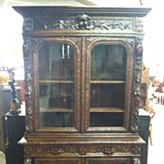 SALE Antique Ornately Carved Oak Louis XIII Cabinet/Cupboard/Bookcase circa 1880