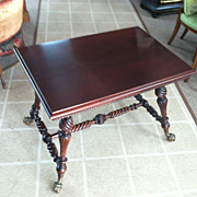SALE Gorgeous Antique Mahogany Barley Twist Center Table with Bronze Gargoyle Feet circa 19th