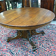 SALE Gorgeous Antique Oak Round Dining (Center) Pedestal Table with Griffin Legs circa 19th ..