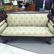 SALE Gorgeous American Period Empire Crotch Mahogany Sofa circa 1820
