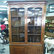 SALE Gorgeous Antique Walnut Glass Door Corner Cupboard / Cabinet circa 1850
