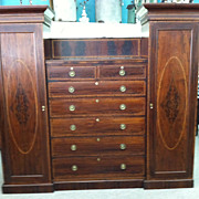 SALE Gorgeous Antique Mahogany Inlaid Tall Chest Flanked by Wardrobes circa 1810