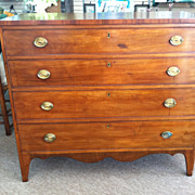 SALE Gorgeous Antique American Mahogany Hepplewhite Four Drawer Chest circa 1820