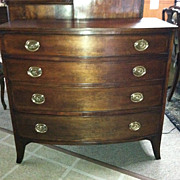 SALE Gorgeous Antique American Cherry Four Drawer Hepplewhite Bow Front Chest Circa 1820