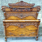 SALE Gorgeous Antique Victorian Burled Walnut Carved Double Bed circa 1880