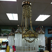 SALE Gorgeous Antique French Art Nouveau Bronze Chandelier (9 Light) with Glass Tubes circa ..