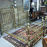 SALE Gorgeous Pair of Antique Heavy Brass & Iron Twin Beds circa 1880
