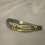 SOLD Vintage Lagos Caviar 18k Gold & Sterling Sugar Loaf Bracelet