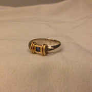 SOLD Vintage Tiffany & Co Sterling 14k Sapphire Ring Sz 5.75