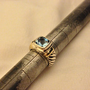 Beautiful David Yurman Sterling Silver 14k Cable Blue Topaz Ring Sz 5.5