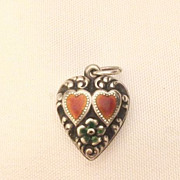 Vintage Enamel Double Puffy Heart Flower Heart Charm