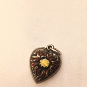 Vintage Sterling Sunflower Enamel Puffy Heart Charm