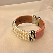 Beautiful Honora Sterling Silver & Pink Leather Pearl Cuff Bracelet