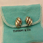 Vintage Tiffany & Co Sterling & 18k Gold Rope Shrimp Earrings