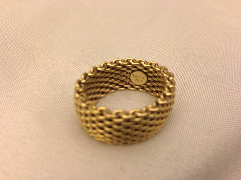 Vintage Tiffany & Co 18K Somerset Large Wide Mesh Ring Band Sz 9-9.25