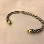 Vintage David Yurman 5mm Peridot 14k Sterling Cable Cuff Bracelet