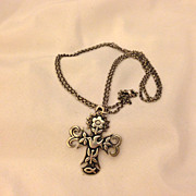 Beautiful James Avery Sterling La Primavera Cross Pendant & Necklace 30""