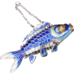 Large Silver Fish, Chinese Articulated 3&quot; Long Cloisonne Carp, Solid Silver Blue Enamel