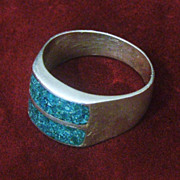 Sterling Crushed Turquoise Men's Ring, Solid Silver Size 12 Modern Design