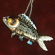 Large Silver Fish, Chinese Articulated 3&quot; Long Cloisonne Carp, Rare Black Enamel and Soli