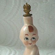 German Figural Kewpie Doll Crown Top Perfume Scent Bottle