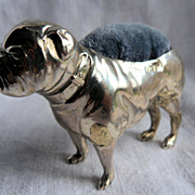 Wonderful & Rare Antique Solid Silver Figural Bull Dog Pin Cushion Hallmarked Birmingham 1906