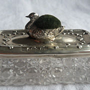 Antique English Silver Figural Duck Pin Cushion & Sewing Accessory Box 1909
