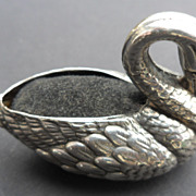 Rare English Antique Solid silver Novelty Figural Swan Pin Cushion Birmingham 1905