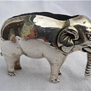 Large English Solid Silver Figural Elephant Pin Cushion Birmingham 1905