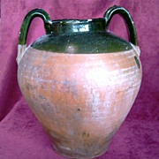 SALE Antique Terracotta Pot, Antique Glazed Terracotta Jug XIX