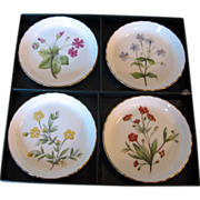 REDUCED Minton English Bone China Set of 4 Floral Coasters, Meadows Pattern, in Original Box