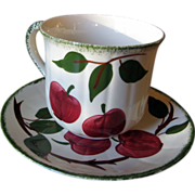 Blue Ridge Southern Potteries Bay Apples Jumbo Cup and Saucer