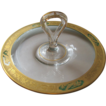 Elegant Handled Crystal Serving Tray with Gold and Green Floral and Bird Filigree Rim