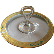 SALE Elegant Handled Crystal Serving Tray with Gold and Green Floral and Bird Filigree Rim