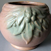 SALE 1920's Nelson McCoy Small Jardiniere in Matte Brown and Green Blended Glaze