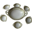 E & R Royal Valentia Handpainted  Seven Piece Nut Dish Serving Set