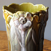 Art Nouveau Vase, with Sunflower, Iris and Morning Glory Border