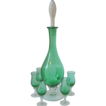 Elegant Emerald Green and Clear Glass Decanter, Stopper and 6 Cordials