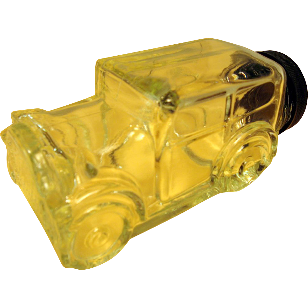 Vintage Clear Glass Woody Truck Candy Container