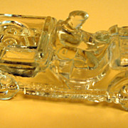 SALE Vintage Willys Jeep with Driver JH Millstein Glass Candy Container
