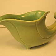 SALE Vintage Red Wing Cornucopia Vase in Green