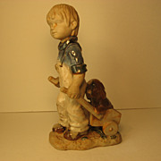"SALE 15 1/2"" Bisque Statue of Little Boy with Cart and Puppy"
