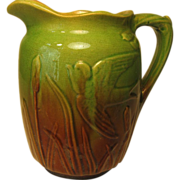 SALE Early Molded Pitcher, Green and Brown Glaze, with Swallowtails and Cattails