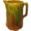 Beautiful Stoneware Pitcher, Green and Brown Glaze,  with Scrollwork Design