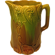 SALE Beautiful Stoneware Pitcher, Green and Brown Glaze,  with Scrollwork Design